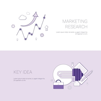 Marketing research and key idea template web banner with copy space