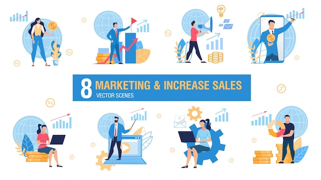 Marketing and sales increasing vector concepts set