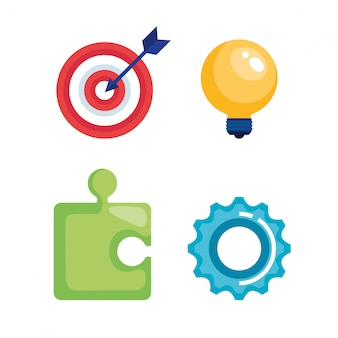 Marketing seo set icons