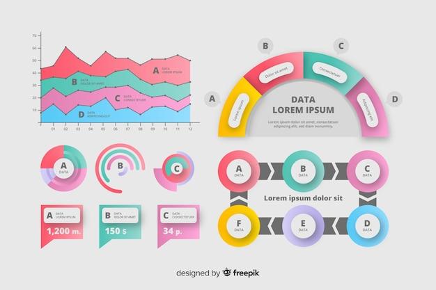 インフォグラフィックダイアグラムのマーケティングセット