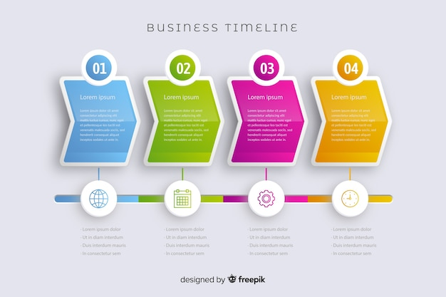 Marketing set of steps infographic timeline