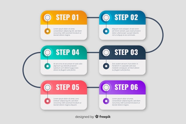 Marketing set of steps timeline template