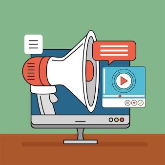 Marketing social media advertising video Premium Vector
