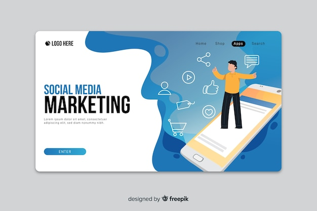 Marketing for social media landing page