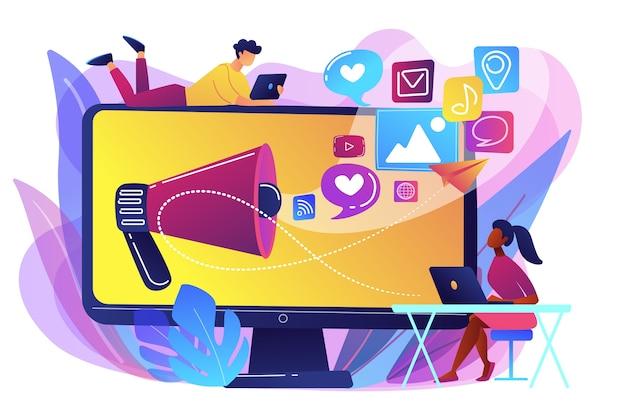 Специалисты по маркетингу и компьютер с мегафоном и значками социальных сетей. маркетинг в социальных сетях, социальные сети, концепция интернет-маркетинга. яркие яркие фиолетовые изолированные иллюстрации