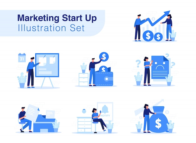 Marketing start up illustration set