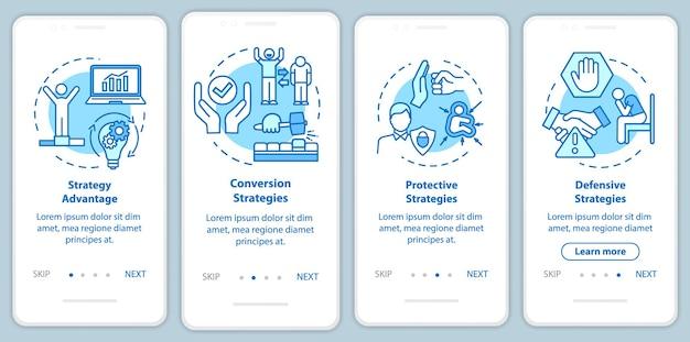 Маркетинговые стратегии, внедряющие экран страницы мобильного приложения с концепциями. покупатели выигрывают. пошаговое руководство по привлечению клиентов 4 шага графические инструкции. векторный шаблон пользовательского интерфейса с цветными иллюстрациями rgb
