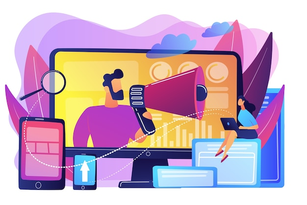 Marketing strategists and content specialist with megaphone and digital devices. digital marketing team, marketing team strategy concept. bright vibrant violet  isolated illustration