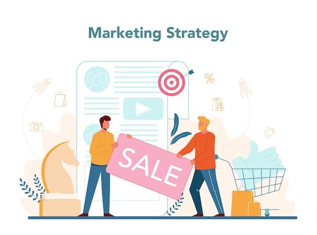 マーケティング戦略。広告とマーケティングの概念。