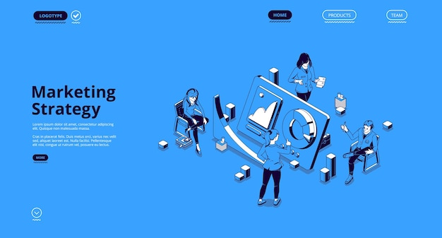 마케팅 전략 배너. 분석 및 계획 홍보 및 광고 회사의 개념.