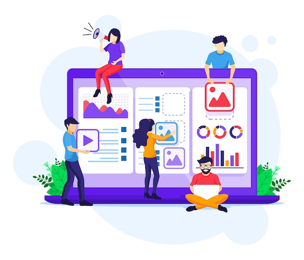 마케팅 전략 캠페인 개념, 홍보 및 판매 프로그램 일러스트레이션을 위해 거대한 확성기를 들고 외치는 사람들
