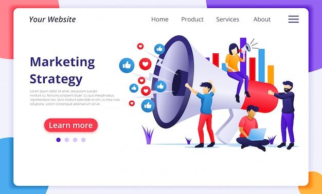 マーケティング戦略キャンペーンコンセプト、プロモーションと販売プログラムのために巨大なメガホンを握って叫ぶ人々。ウェブサイトのランディングページテンプレート