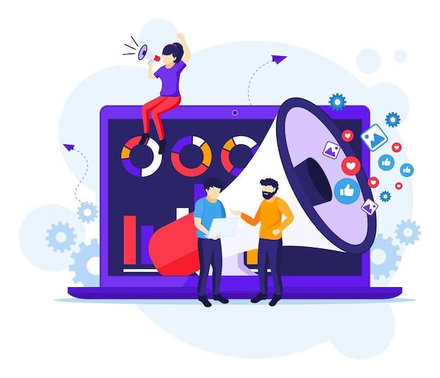 마케팅 전략 캠페인 개념, 거대한 확성기, 판매 프로그램 그림을 들고 외치는 사람들