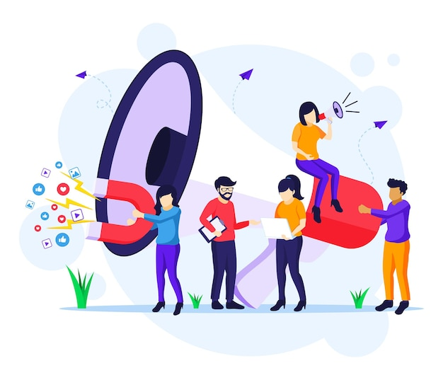 Marketing strategy campaign concept, people holding and shout on giant megaphone for promotion flat vector illustration