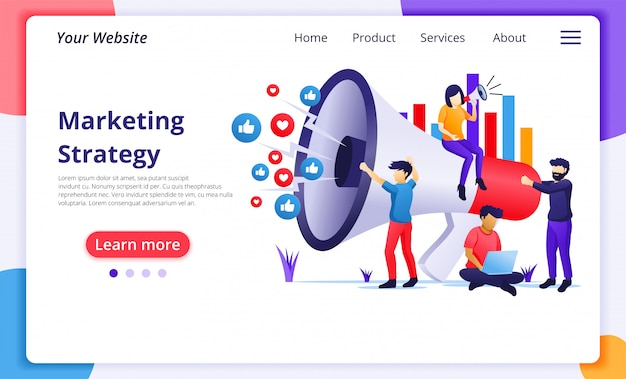 Marketing strategy campaign concept, people holding and shout on giant megaphone for promotion and sales program. website landing page  template