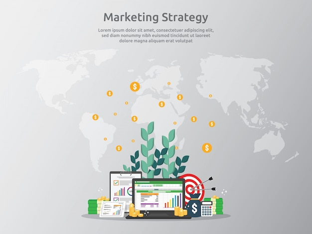 Marketing strategy concept for business finance analysis