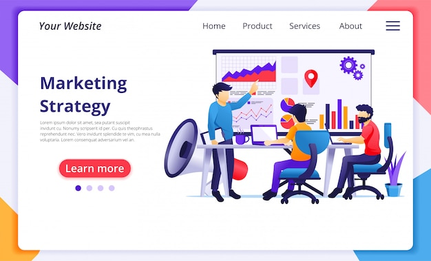マーケティング戦略概念、会議のビジネス人々、新しいキャンペーンの販売促進のためのプレゼンテーション。ウェブサイトのランディングページテンプレート