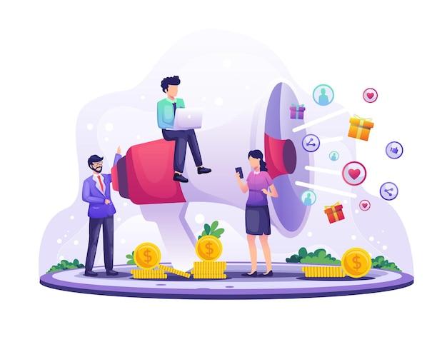 마케팅 전략 개념, 사업가 승진을 위해 거대한 확성기에 소리 질러