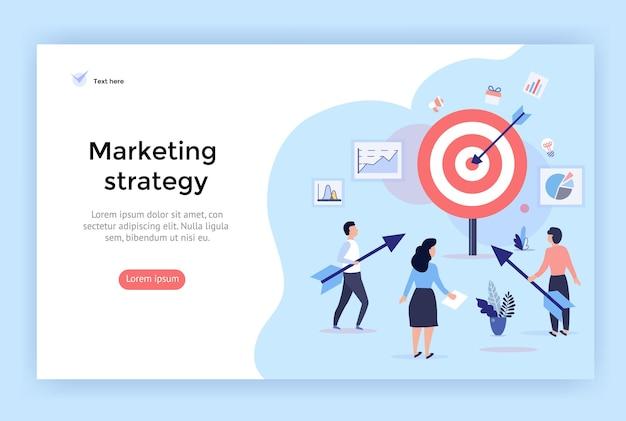 ウェブデザイン、バナー、モバイルアプリ、ランディングページに最適なマーケティング戦略の概念図
