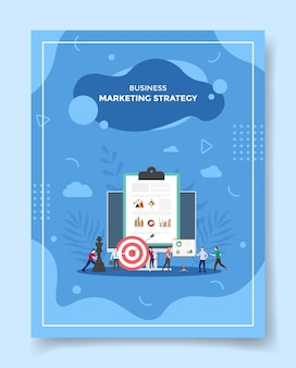 Marketing strategy concept people around computer chart clip board chess dart