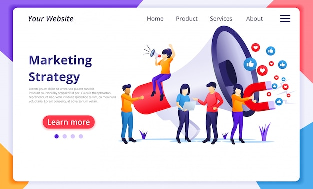 Marketing strategy concept, people holding giant megaphone. website landing page  template