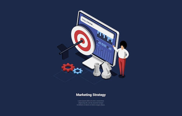 Marketing strategy conceptual design in cartoon 3d style.
