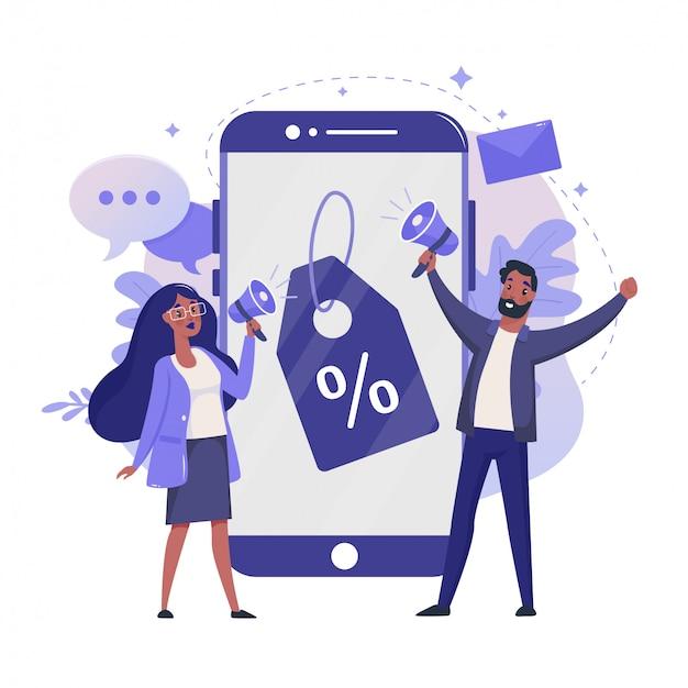 マーケティング戦略フラットイラスト。オンライン割引とロイヤルティプログラムのカラーデザイン。割引価格のタグと人々のカラフルな比喩、白い背景で隔離の携帯電話。