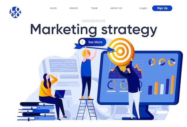 Marketing strategy flat landing page. marketing team doing target audience research illustration. data analysis and finding potential customers web page composition with people characters