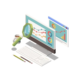 Icona della strategia di marketing con lente d'ingrandimento e barre in crescita sul monitor del computer isometrica