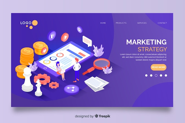 Marketing strategy in isometric design landing page
