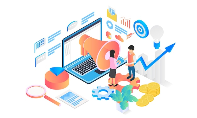 Marketing strategy isometric style illustration with character and funnel