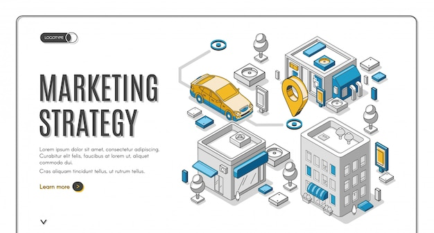 Marketing strategy isometric web banner, planning
