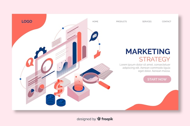 Marketing strategy landing page in isometric design