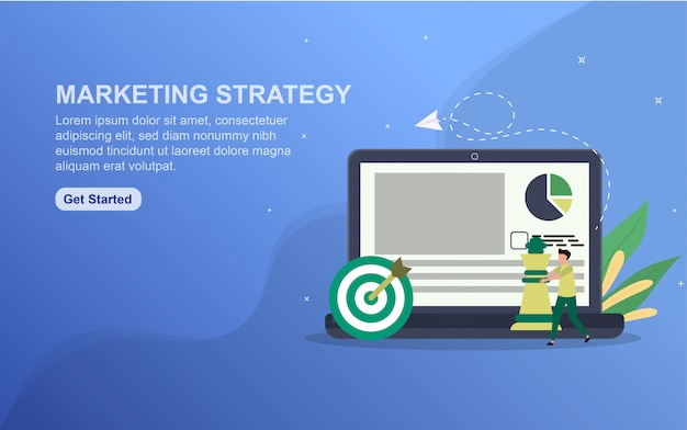 Marketing strategy landing page template. flat design concept of web page design for website.