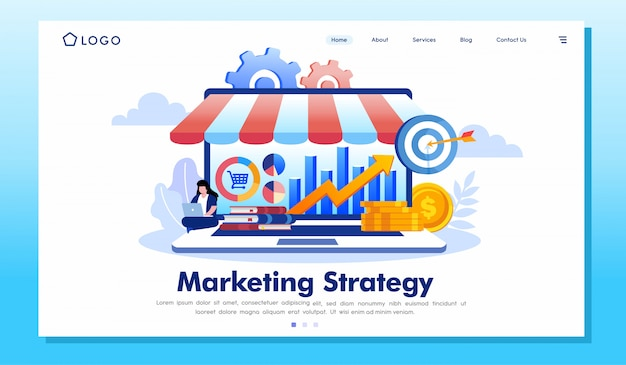 Marketing strategy landing page website illustration vector