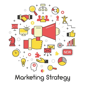 Marketing strategy line art