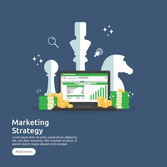 Marketing strategy and return on investment roi concept