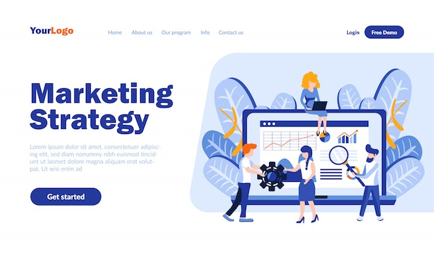 Marketing strategy vector landing page  with header