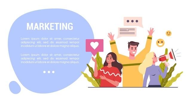 Концепция веб-баннера маркетинговой стратегии. концепция рекламы и маркетинга. общение с заказчиком. seo и коммуникация через сми. реклама и баннер в социальных сетях. иллюстрация