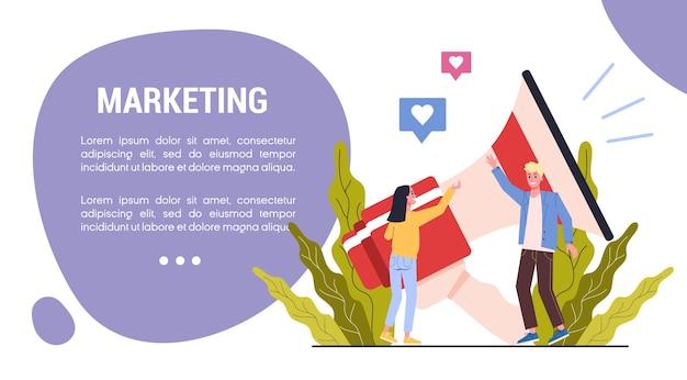 Концепция веб-баннера маркетинговой стратегии. концепция рекламы и маркетинга.