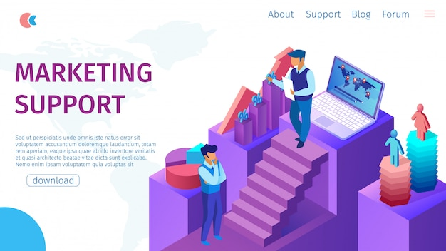 Marketing support flat banner on landing page.