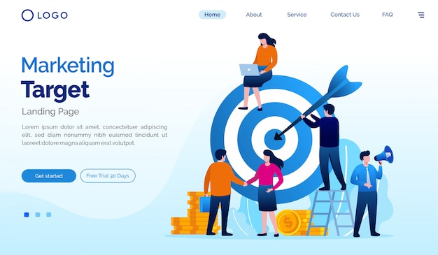 Marketing target landing page website illustration