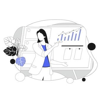 Обучение маркетингу. иллюстрация в плоском стиле