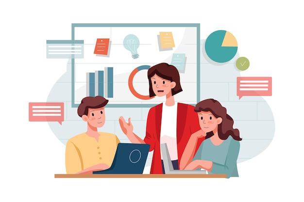마케팅 전략 일러스트레이션을 논의하는 마케팅 팀