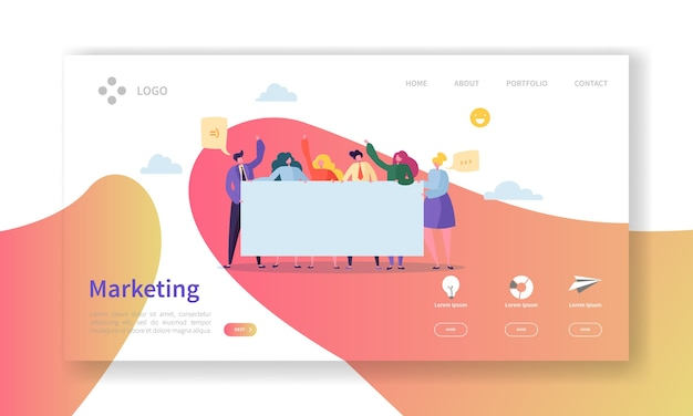 Marketing team landing page. team work concept with  business people characters working together website template.