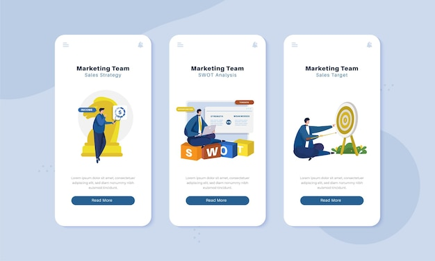 Marketing team strategy on onboard screen interface illustration concept