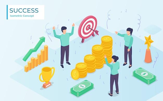 Marketing team very happy get reward after successfully achieving sales target. modern flat cartoon design
