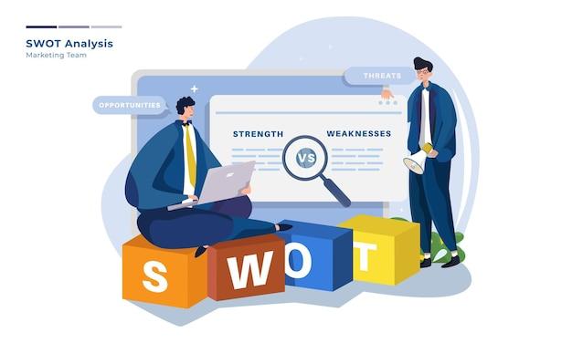 Swot分析のイラストを使用したマーケティングチーム Premiumベクター