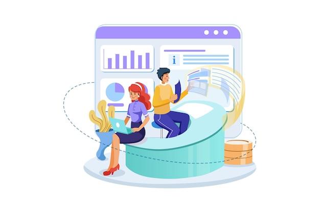 시장 분석 일러스트레이션 작업 마케팅 팀