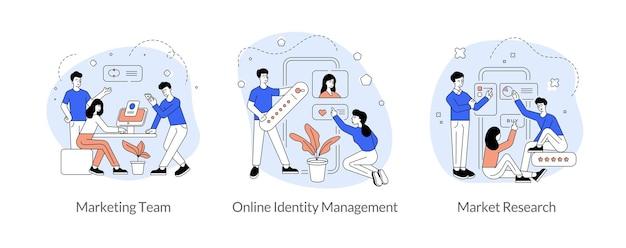 마케팅 팀워크 연구 평면 선형 벡터 일러스트 레이 션 세트. 마케팅 팀, 온라인 신원 관리, 시장 조사. 소셜 미디어 애플리케이션 개발. 남자와 여자 만화 캐릭터